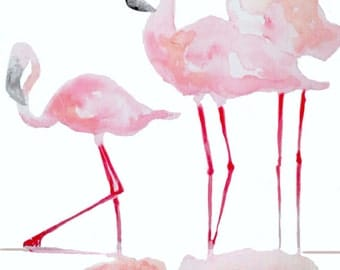 Print of the original watercolor painting 'Flamingo'