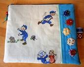 Michel aus Lönneberga,Zippertasche mit tollen Details, Vintage Stoff, blau, türkis,Schweden, handmade, Unikat (125)