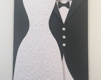 Elegant Wedding Dress and Tuxedo Card