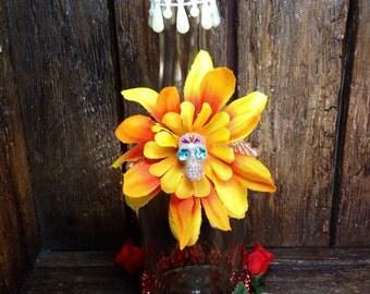 Day-of-the-Dead Vase / Dia de los Muertos Tall Candle Holder / Folk Art Glass Bottle Altar / Ofrenda Decoration / All Souls Day Home Decor