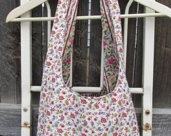 Floral/Striped Handmade Hobo Bag