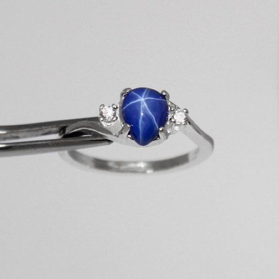 Exceptionnel Bleuet bleu saphir étoilé bague en argent Sterling avec des JZ02