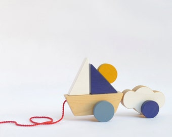 Pull toy boat, Pull toy for toddlers, Boat and Cloud wooden toy