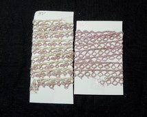 2 Yards of Vintage 1940s Tatted Lace in 2 Pieces, 37 Inch Lilac and Ivory, 36 Inch Ivory, Vintage Tatted Lace for Dress, Blouse, Baby Items