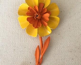 Yellow  and Orange Enamel Flower Brooch