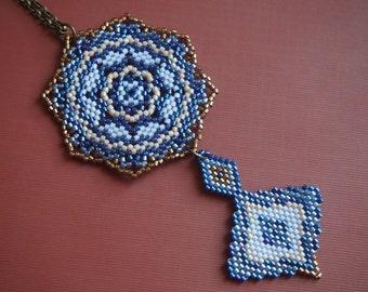 Aqa Bozorg mosque inspired intricate Delica seed bead pendant necklace. bronze, beige, dark blue, light pink. mandala statement necklace.