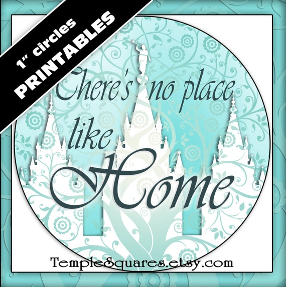 "Printable 1"" inch circles. ""There's No Place Like Home"" Digital Collage for labels, stickers, or pendants. Temple Tree of Life"