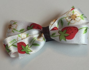 Vintage 1980s Strawberry Ribbon Crafted Into Hair Bow Clip