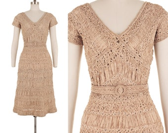Mojave Lace Dress / 1950s Vintage Sheer Beige Bombshell Illusion 50s Pinup Belted Crochet Midi Party Dress S/M
