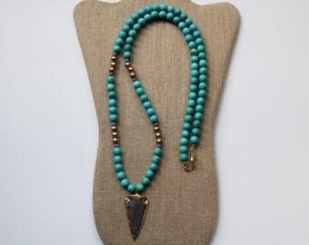 Turquoise Necklace, Arrowhead Pendant Necklace, Gold