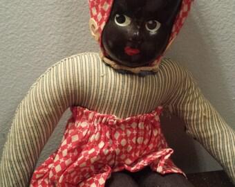 Black Americana Cloth Body Straw Doll - Poland