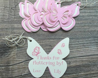Butterfly Thank You Tags, Favor tags, Gift tags - Pink & Ivory - Personalized  - Birthday, Garden Party, Baby Shower - set of 8