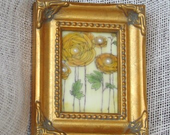 Mixed Media Encaustic Flower Image with Pearl Accents Encaustic Wax Finish Faux Pearls