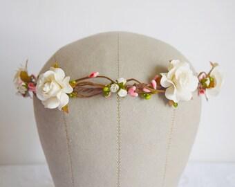 Rustic Flower Crown, rose and pip flower crown, bridal hair accessories, wedding hair accessories, flower circlet, floral crown, -AMELIA-