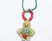 Gingerbread Boy Necklace, Gingerbread Boy Necklace, Gingerbread Boy Jewelry, Story Fairy Tale, Initials Available