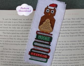 Christmas Owl Sitting on Books Cross-Stitch Bookmark Pattern with 3 Cross-Stitch Alphabets - PDF Download