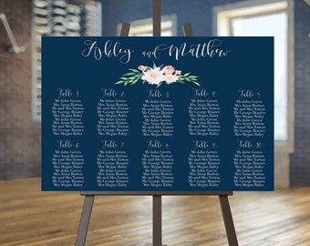 Wedding seating chart printable, Navy guests list printable, Blush seating chart Tableau de mariage Wedding seating plan Wedding guest list