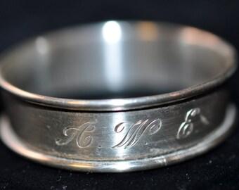 Sterling Napkin Ring, Silver Napkin ring, Engraved AWE, Vintage napkin holder sterling silver, #1676