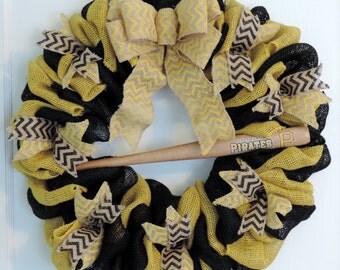 Pittsburgh Pirates Burlap Wreath