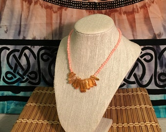 Peaches and Crystal - Handmade Beaded Necklace