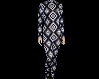 Navaho Tribal Print Black White Gray Spandex Unitard Catsuit Bodysuit Jumpsuit  Fits Medium or Large