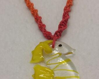 Glass Seahorse Pendant Rainbow Hemp Necklace - Hemp Jewelry
