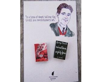 George Orwell's miniature book pins set