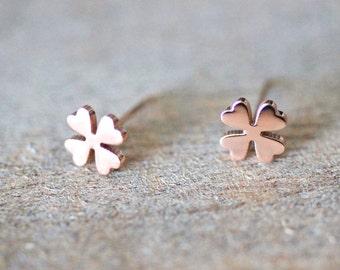 Four Leaf Clover stud earrings, lucky leaf, lucky clover, rose gold earrings, birthday gift for her, stainless steel studs,titanium earrings