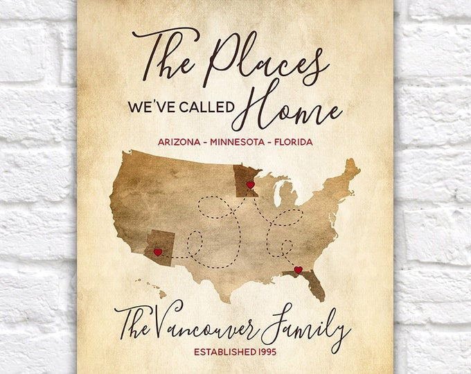 Family Gifts, The Places We've Called Home, US Map with Locations Highlighted, Customizable, Rustic Worn Map, Parents Wall Art   WF519