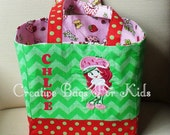 SALE Strawberry Shortcake Tote Bag/ Strawberry Shortcake Lunch Bag/ Personalized Strawberry Bag-Birthday Gift