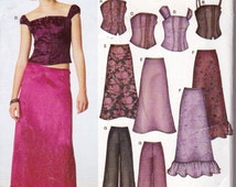 New Look 6207, Teen Girls  Evening Wear Separates Sewing Pattern, Size 3 to 14, Bustiers, Pants, Pull On Long Ruffled Skirt, Wide Leg Pants