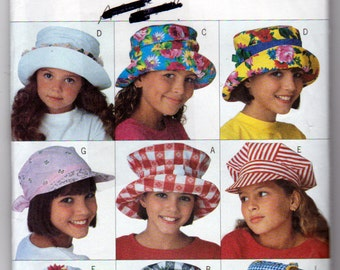 Girls Hats sewing Pattern, Baseball Caps, Engineer Hat, Wide Brim Hats, Sun Hats, Butterick 3874, Uncut, Vintage 1995