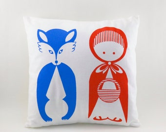 "Little Red Riding Hood Pillow Cover. Hand Screen Printed. 14""x14"". 100% Cotton."