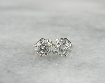 Timeless Diamond Stud Earrings in White Gold KZKWDL-D
