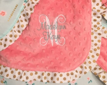 Mint, Gold and Coral Floral Minky Baby Blanket