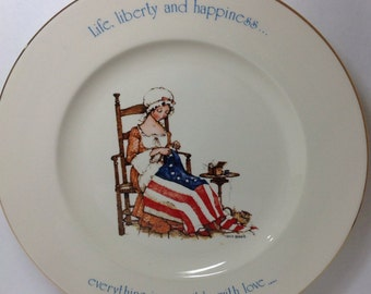 Holly Hobbie Freedom Series Plate Vintage 1974 USA Patriotic Collectible Plate July 4th American Flag