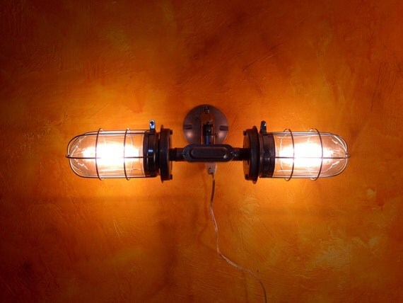 Industrial vanity light, Double Head cage light, modern Bathroom Mirror light, exposed conduit ...