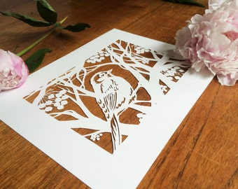HOLIDAY SALE! Unframed Laser cut of Hand cut paper cut art Bird in Wintertree - Lasercut reproduction of original paper cutting wall art