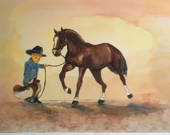Little cowboy with big horse water color