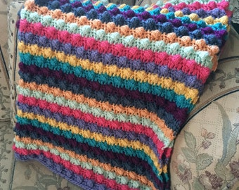 Handmade Multi-Color Brights Bobble Striped Baby Afghan