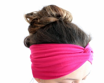 Pink Turban Headband, Elastic Soft Jersey Headband, Head Wrap, Yoga Headband, Fitness Headband, Running Headband, Twist Headband