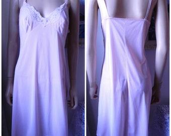 Vintage 70's soft pink negligee slip u.k. 14 - 16 M L