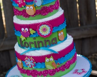 Owl Diaper Cake - Owl Baby Shower Cake - Diaper Cake for a Girl - Hot Pink - Diaper Cake - Lime Green - Baby Shower for Girl - Baby Cake