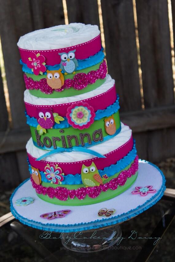 Owl Diaper Cake - Owl Baby Shower Cake - Diaper Cake for a Girl - Hot Pink - Diaper Cake - Lime Green - Baby Shower for Girl - Baby Cake
