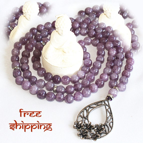 Japa Mala Hand Knotted 108 Gemstone Agate 8mm Beads Prayer Yoga Necklace for Meditation and Mantra - Free Shipping