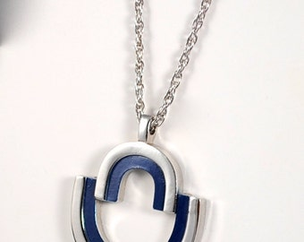 Vintage Silver and Blue Articulated Pendant Necklace 1960s