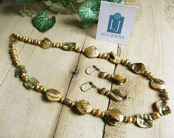 Champagne Freshwater Pearls Necklace, champagne earrings, Coin Freshwater pearls, redesign