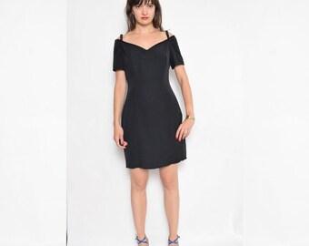 Vintage 90's Black Off The Shoulder Dress / Shoulderless BLack Mini Dress