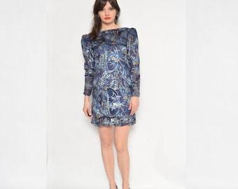 Vintage 80's Metallic Long Sleeve Dress / Blue Fitted Dress / Metallic Mini Dress -