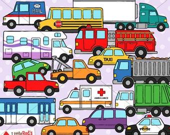 Road Vehicles Cars and Trucks Clip Art